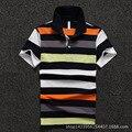 Los hombres Camisa de Polo de 2016 Nuevos hombres de Polo de La Raya Amarilla de Manga Corta de Algodón Polo Camisa Homme D1646