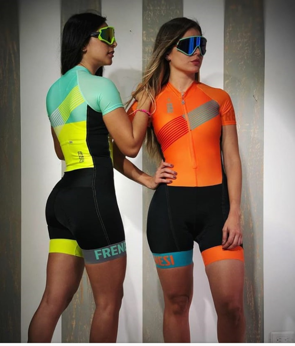 2019 Pro Team Triathlon Suit Women's Cycling Jersey Skinsuit Jumpsuit Maillot Cycling Ropa Ciclismo Set Pink Gel Pad
