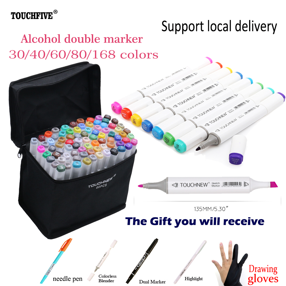 30/40/60/80/168 Colors Artist Dual Headed Alcohol Marker Drawing Pen set Manga Graphic Design School Drawing Sketch Art Supplies touchnew 80 colors artist dual headed marker set animation manga design school drawing sketch marker pen black body
