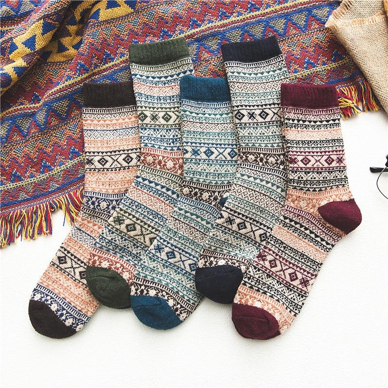 Jeseca New Thick Stripe Crew Socks Folk-Custom Warm Winter Wool Socks Casual Calcetines Hombre Sock Business Male Socks