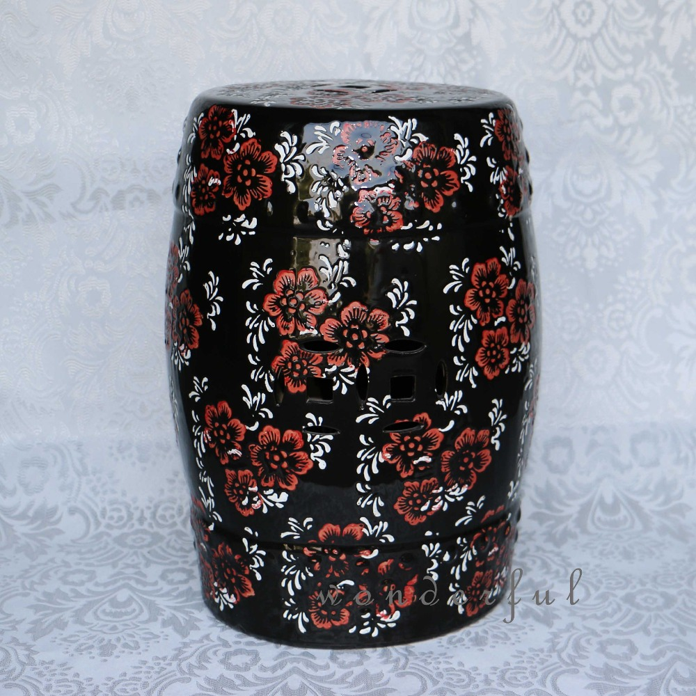 Black Jingdezhen Porcelain Garden Stool Ceramic For Dressing Table Drum Chinese  Costco