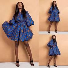 Женское платье в африканском стиле вечернее мини с расклешенными