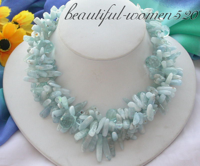 Z3659 3row 17 Aquamarin stick drip faceted crystal necklace