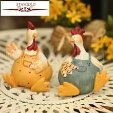 Hot Sell European Village Resin Easter Decoration Figurines Chicken House Toy Decoration Home Two Piece Set
