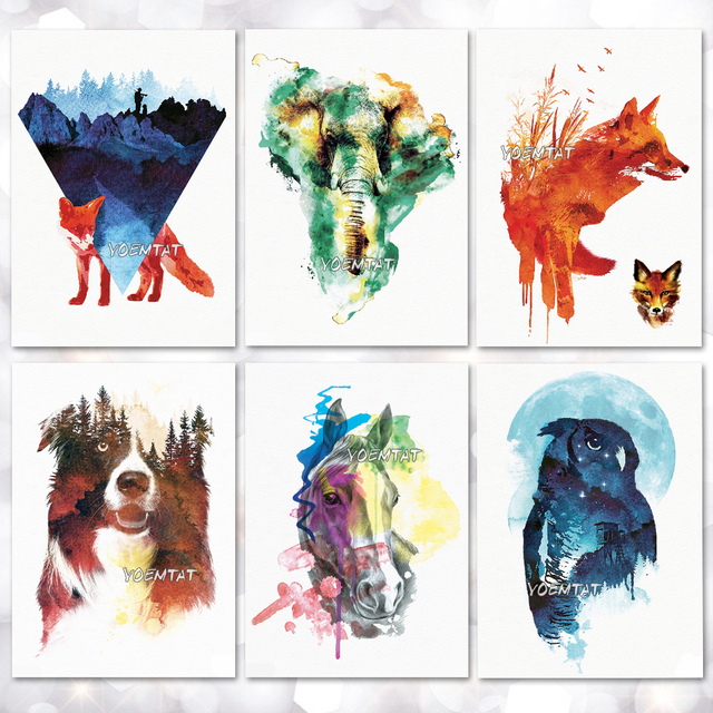b648ddfcd Watercolor fox elephant Temporary Tattoo Stickers Waterproof Women Fake  Hand Animal Tattoos Adult Men Body Art
