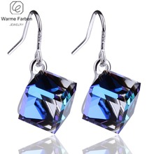 WARME FARBEN Crystal from Swarovski Silver Drop Earrings Square Beads Discoloration Dangle Fashion Wedding Party Jewelry Brincos
