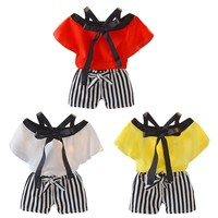 New Baby Kid Girl Casual Clothing Set Cotton 2Pcs Baby Toddler Girls Kids Vest Sling Top+Striped Shorts Clothes Outfits