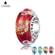 Gold folie meteor murano glas perlen charms 925 Sterling Silber fit Armbänder Schmuck Trendy VDLL028(China)