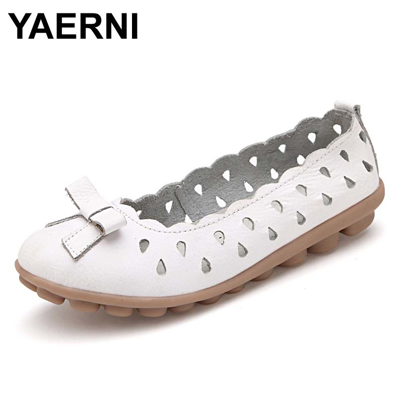 YAERNI New Women Real Leather Shoes Moccasins Mother Loafers Soft Leisure Flats Female Driving Casual Footwear cut-outs Loafers split leather dot men casual shoes moccasins soft bottom brand designer footwear flats loafers comfortable driving shoes rmc 395