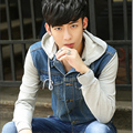 2016 Korean New Men's Denim Jacket Mens Hooded Jacket  Winter Coat Long Sleeved Shirt Slim Jeans