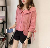 M 4XL Preppy Style Plaid Slash neck Black/Red Women's Tunic Korean Loose Plaid Blouse Shirt Off Shoulder Top Summer Sweet Shirt
