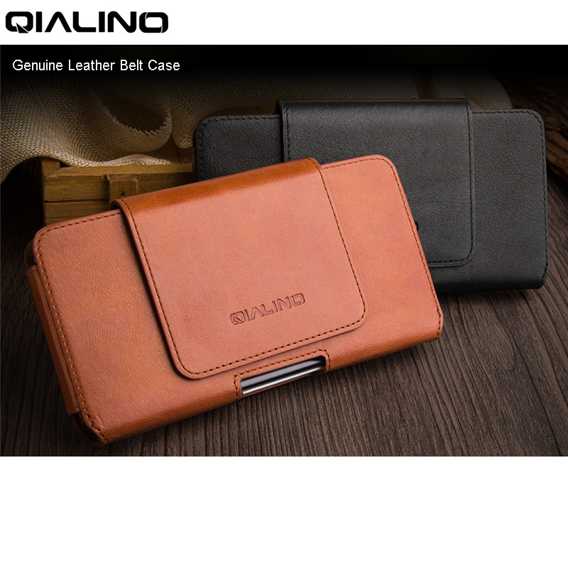 purchase cheap d28a4 58030 US $27.19 32% OFF|QIALINO Genuine Leather Belt Case for iPhone 7 8 6 6s  Plus Waist Holster Clip Bag Pouch Cover for iPhone X Business Phone Cases  -in ...