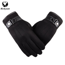 Better warm winter mens gloves Faux suede Leather Black leat