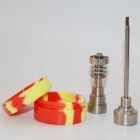 10mm&14mm&18mm Adjustable Titanium Nail Tool Set Glass Bong Domeless GR2 Titanium Nail with Carb Cap Dabber Tool Slicone Jar