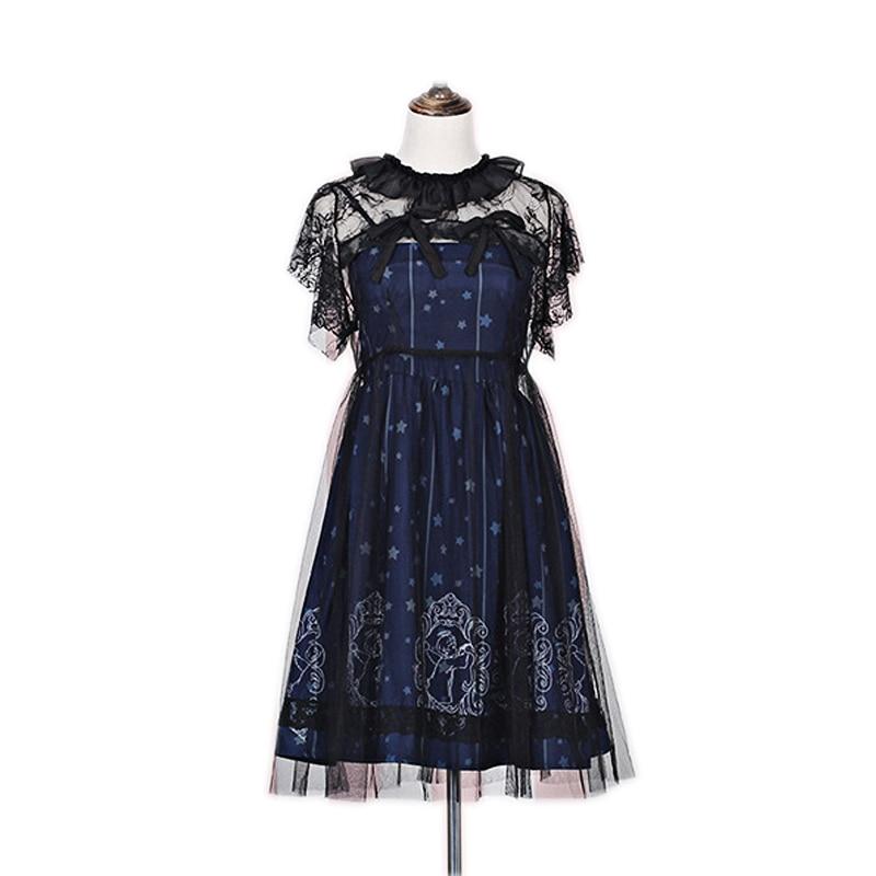 a6ea9367ac Dark blue Constellation Lolita Dress Japanese Starry Night Angel Dresses Set