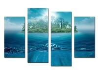 Хит, 4 шт. большой HD Wall Картины Dream Island Летний стиль свадебные декоративные картины маслом, печать на холсте для не оформлена