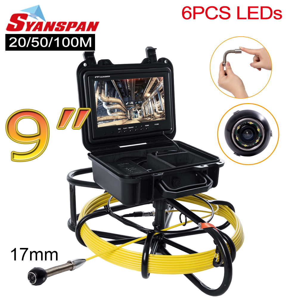 """All-in-One 17mm SYANSPAN 9""""Monitor Pipe Inspection Video Camera,Drain Sewer Pipeline Industrial Endoscope with Meter Counter"""