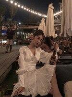 Temperament Cut Sense Dress Show Back High Waist Vestido De Festa Island Silk V neck Knee length Lantern Sleeves Fresh