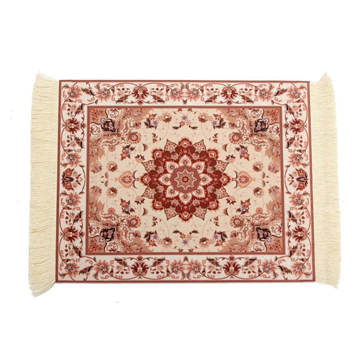 Cotton Rubber Persian Mini Woven Rug Mouse Pad Carpet Mousemat With Fringe  Home Office Table Decorative