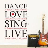 Danza del Amor de Cantar En Vivo DIY Vinilo Removible etiqueta de Cotización de La Pared Sticker Decal Art Home Decor