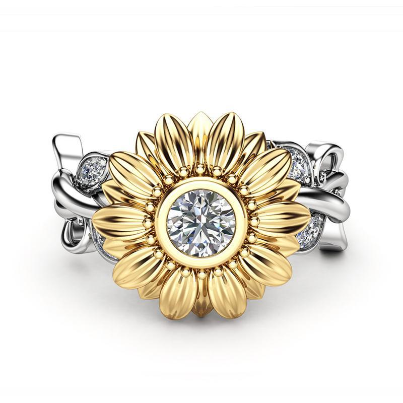 Stone Rings Engagement-Ring Zircon Wedding-Jewelry Sunflower 925-Silver Luxury Crystal