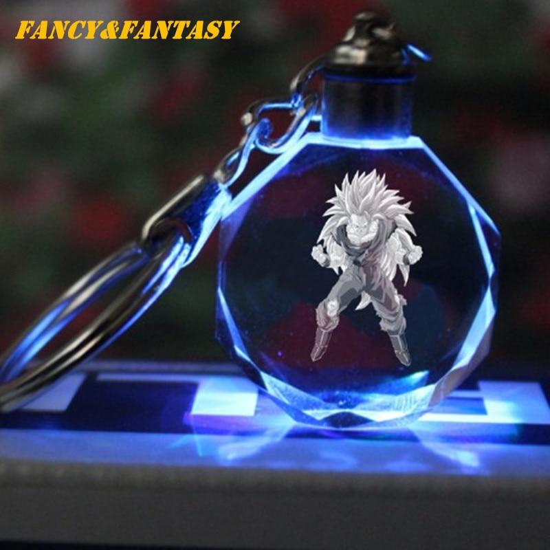 Fancy&Fantasy Light Up Dragon Ball  Super Saiyan Crystal Keyring Son Goku Vegeta Trunks Buu Kame-Sen'nin Keychain LED Pendant