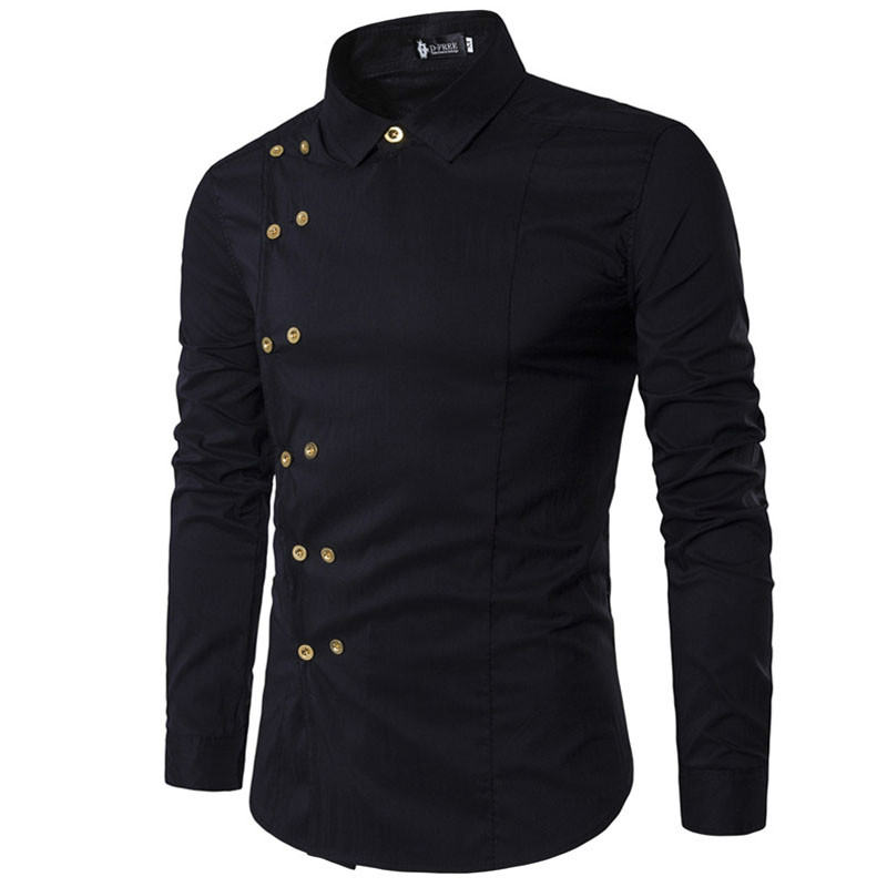 WSGYJ Casual Shirts Men 2019 Fashion Irregular Double Breasted Men Long Sleeve Dress Shirt Solid Color Men's Clothing
