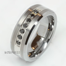 Cepillado de lujo mejor tungsten anillo cz hombres mujeres wedding band tamaño 6-13 envío gratis