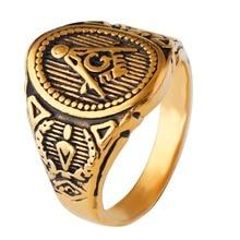 Men's Gold Plating Mason Signet Ring /Men's Stainless Steel Freemason Ring / Masonic Rings,Christmas Party Jewelry Gift