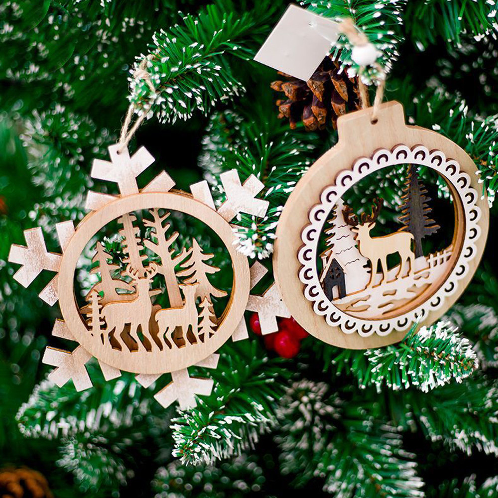aliexpresscom buy snowflake wood embellishments rustic christmas tree hanging ornament decor 2018 new arrival hot sale from reliable pendant drop