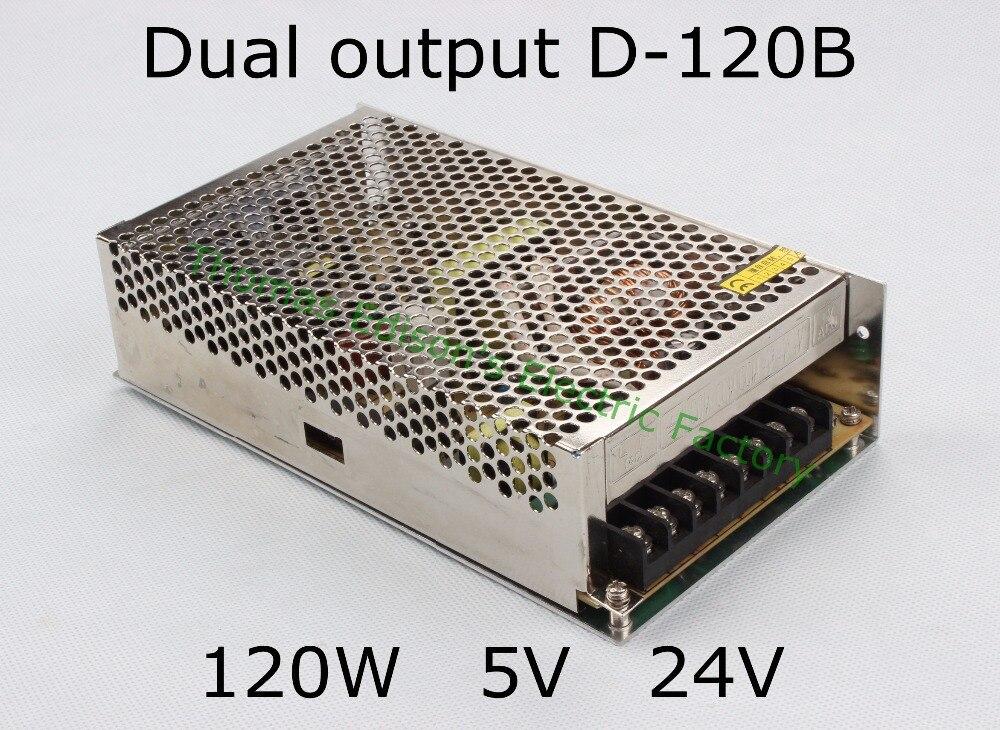 купить dual output power supply 120w 5V 24V 12A,5A,6A,4A,5A,2.5A power suply D-120B ac dc converter good quality по цене 1097.48 рублей