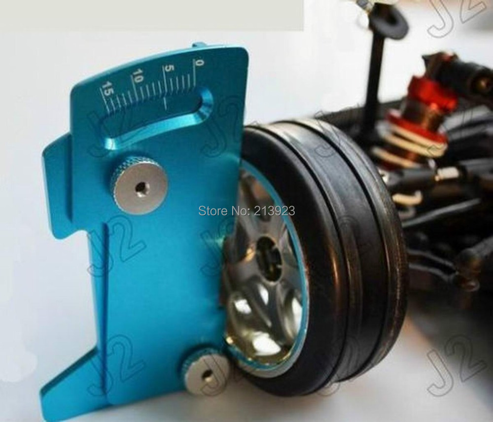 CNC Adjustable Ruler Adjusting RC Car Height & Wheel Rim Camber Measure 15 Degrees Alloy Blue