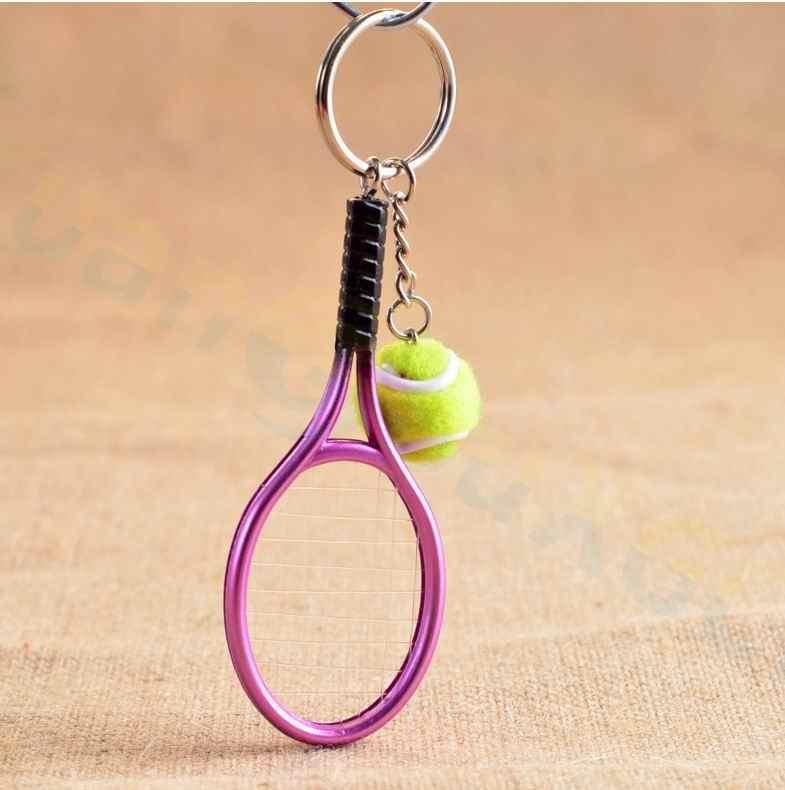 Bolsa de tenis colgante plástico mini raqueta de tenis llaveros pequeños adornos llavero deportivo ventiladores recuerdos llavero regalos