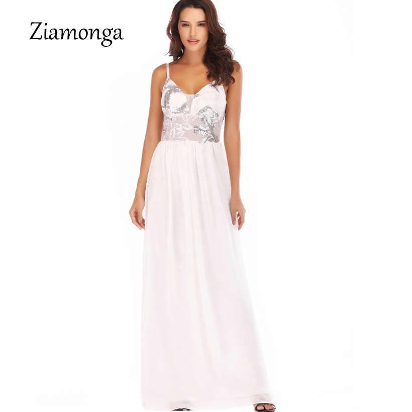 84b3b8b59b0 Ziamonga Элегантное Длинное платье блестками Топ Платья для вечеринок Для  женщин Сексуальная V шеи бретельках Вечернее