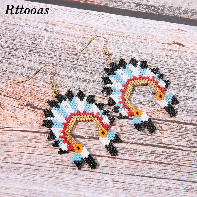 Rttooas Native American Earrings Boho MIYUKI Earrings Indian Chief Bohemia Earring Handmade Jewelry 2019 Women Delica Bead Gift