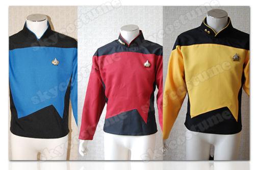 Star TNG The Next Generation Trek Uniform Cosplay Costume Red Blue Yellow Shirt For Men Size XS-XXXL