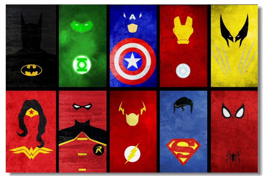 Custom Canvas Wall Decals Marvel Dc Superheroes Poster