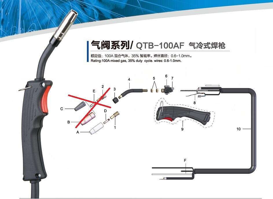 RU Lager 2,5 meter MB 15AK 15 AK Mig Taschenlampe mit Gas Wert für MIG-130 Mig Schweißer 100AF 100E Mig Gun (zwei trigger drähte)