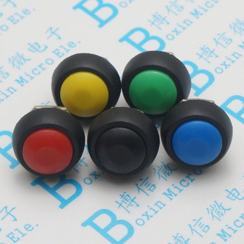 PBS-33 b vert 12mm petite voiture déverrouillée l'interrupteur de bouton de commutation du klaxon