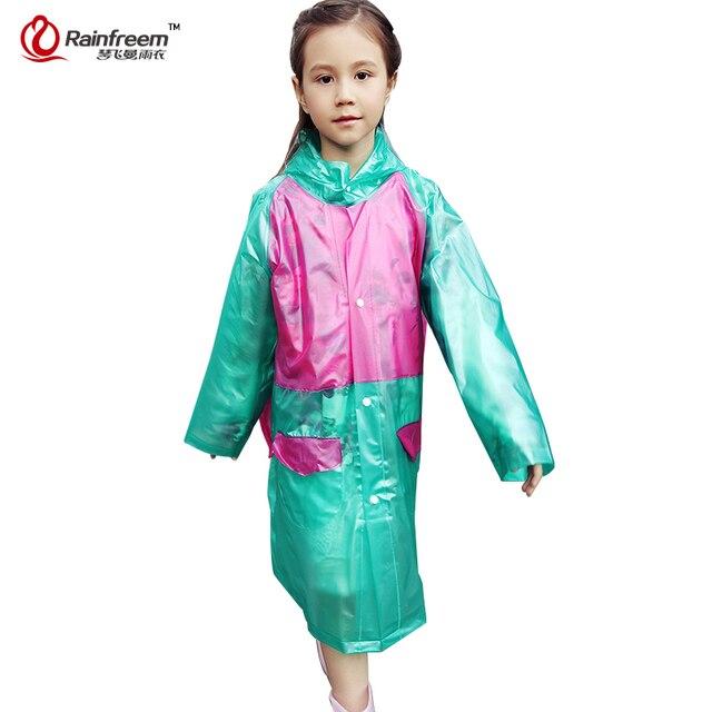 Rainfreem непроницаемой детский плащ Пластик прозрачный дождевик  Водонепроницаемый дети плащи Дождевики и зонты пончо d14463b9f82cd