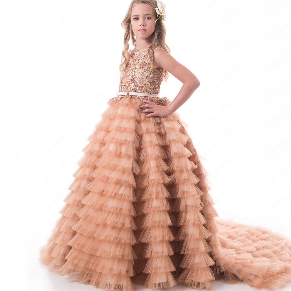 2017 New Flower Girls Dress For Weddings Appliques Ruffles Ball Gown Sleeveless Formal Kid First Communion Gowns Vesyidos Longo 4pcs new for ball uff bes m18mg noc80b s04g