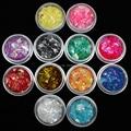 Новый стиль 12 Цветов Nail Art Акриловые Блеск Шинни Смесь Лед Майларовый Оболочки Наборы Бумаги Горячая