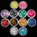 New style 12 Colors Nail Art Acrylic Glitter Shinny Mixture Ice Mylar Shell Paper Sets Hot
