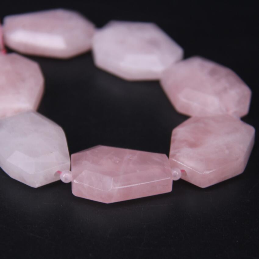 11 13pcs strand Natural Rose Quartzs Faceted Slab Nugget Loose Beads Cut Pink Crystal Stone Gems Slice Pendants Jewelry Making in Beads from Jewelry Accessories