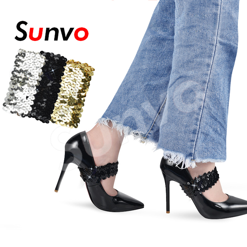 Sunvo High Heel Shoe Straps Shoelaces for Lady Holding Loose No Tie Anti-skid Elastic Bundle Band Shoes Decoration Accessories Sunvo High Heel Shoe Straps Shoelaces for Lady Holding Loose No Tie Anti-skid Elastic Bundle Band Shoes Decoration Accessories