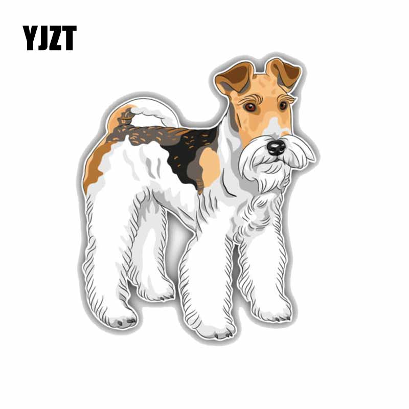 YJZT 11.4*13.7CM  Wire Fox Terrier Dog Car Decoration Bumper Window Sticker C1-4255