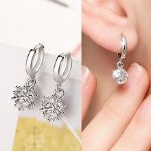 Здесь можно купить  Fashion White Zirconia Round Ball Pendant Loop Huggie Small Hoop Earrings For Girls Women 925 Silver Earring Jewelry E577
