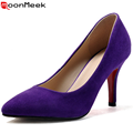 Plus size 33-40 top quality genuine sheepskin leather high heels women pumps pointed toe  elegant style party shoes