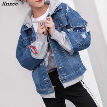 New 2018 Women Denim Jacket Pathchwork Loose Basic Baseball Female Hood Jeans Coat Sweet Style Xnxee