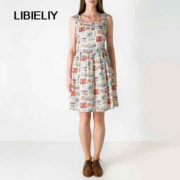 8409346e148 Хороший летний Vogue Для женщин сарафан элегантный печатных платье на  бретелях без рукавов хлопок женское платье Повседневное удобные праздн.